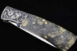 Dual Action Automatic Folder by Doc Hagen. Buckeye Burl Scales w/Arabesque Scroll