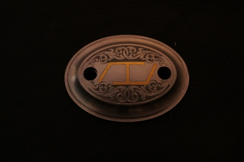 Grip Cap w/ Flying H Cattle Brand with Western Scroll